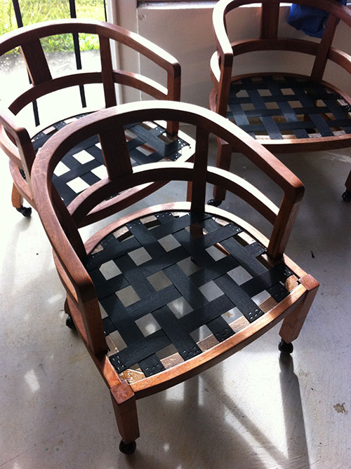 Reupholstered Koa Wood Dining Chairs Hamakua Canvas